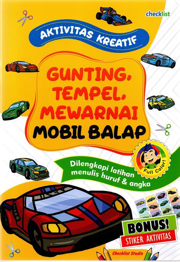 Mobil Balap Aktivitas Kreatif Gunting Tempel Mewarnai